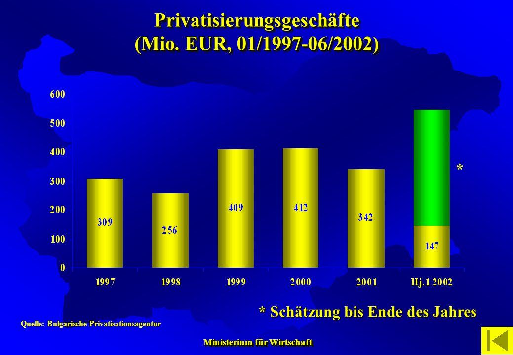 Privatisierungsgeschäfte (Mio. EUR, 01/1997-06/2002)