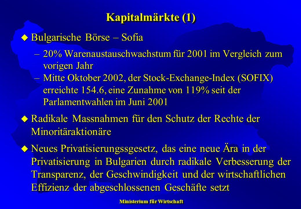 Kapitalmärkte (1) Bulgarische Börse – Sofia