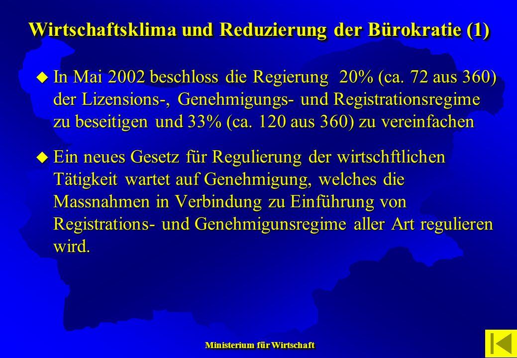 Wirtschaftsklima und Reduzierung der Bürokratie (1)