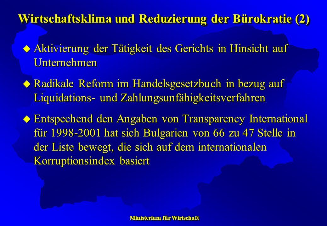 Wirtschaftsklima und Reduzierung der Bürokratie (2)