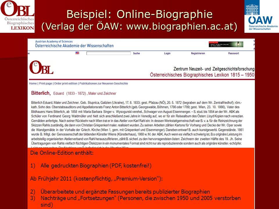 Beispiel: Online-Biographie