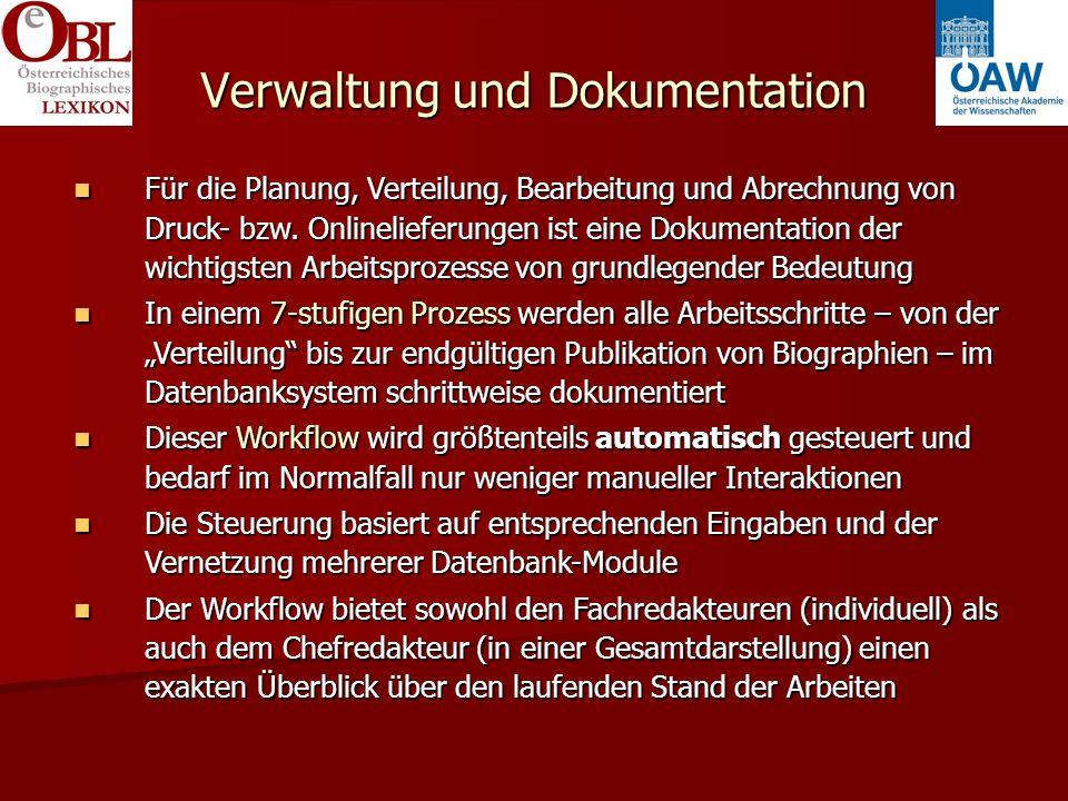 Verwaltung und Dokumentation