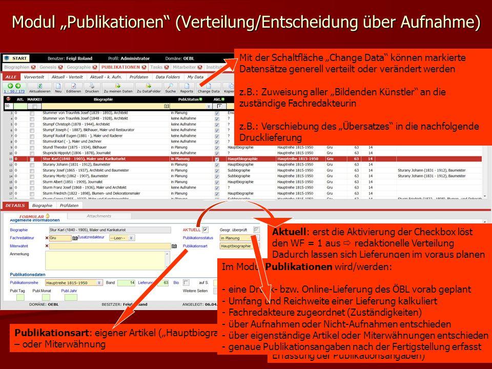 """Modul """"Publikationen (Verteilung/Entscheidung über Aufnahme)"""