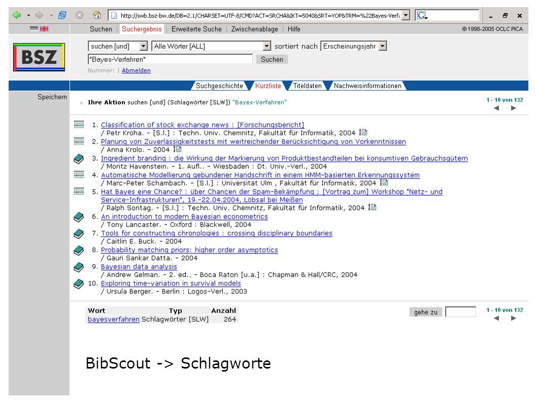 BibScout -> Schlagworte