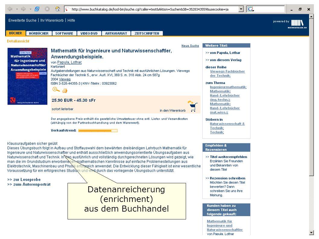 Datenanreicherung (enrichment) aus dem Buchhandel
