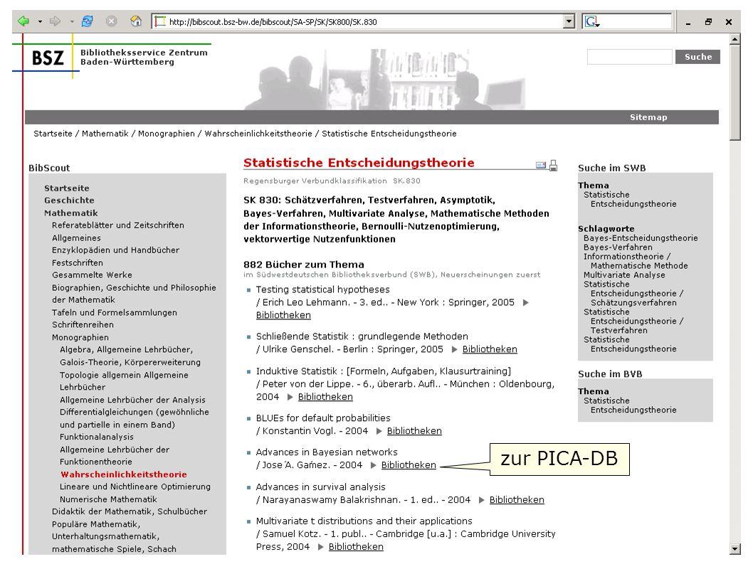 zur PICA-DB Flagge zeigen im Web W. Heymans, BSZ