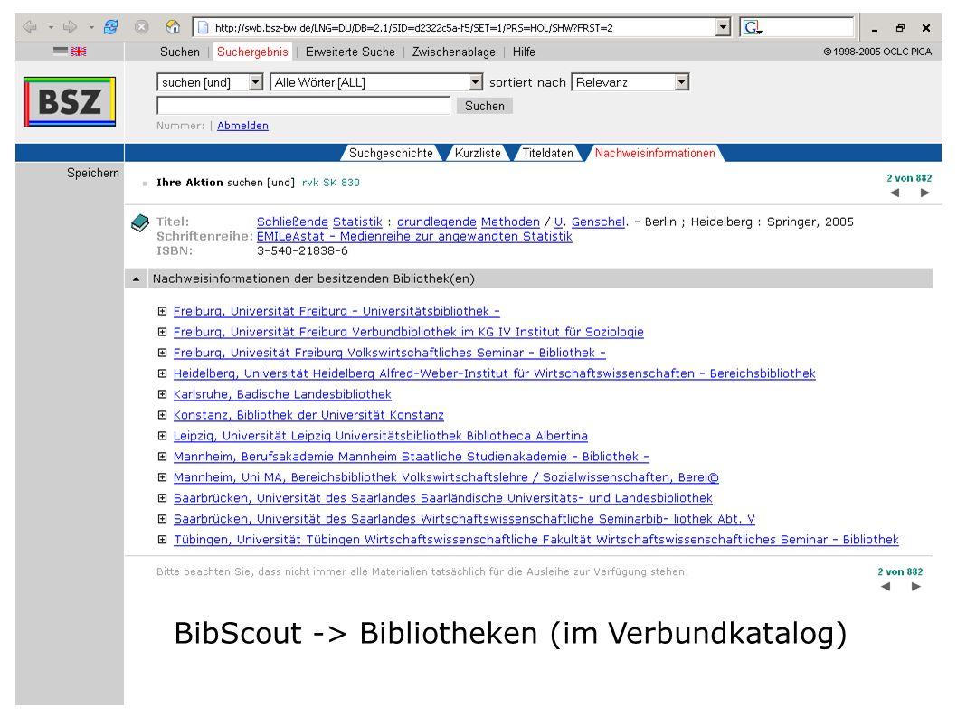BibScout -> Bibliotheken (im Verbundkatalog)