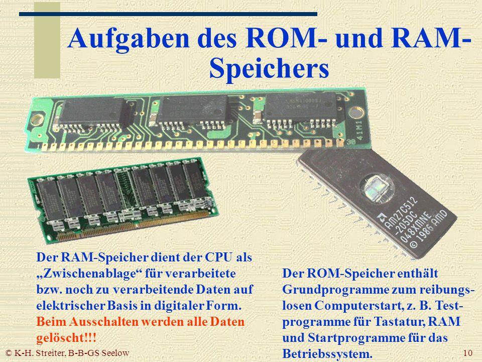 Aufgaben des ROM- und RAM-Speichers