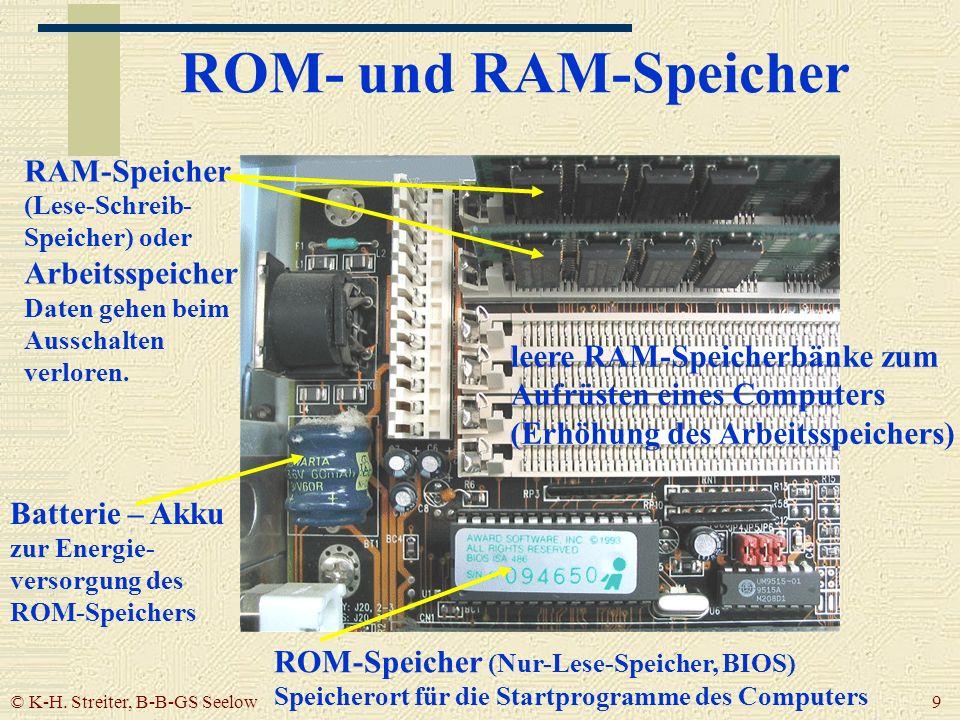 ROM- und RAM-Speicher RAM-Speicher (Lese-Schreib- Speicher) oder