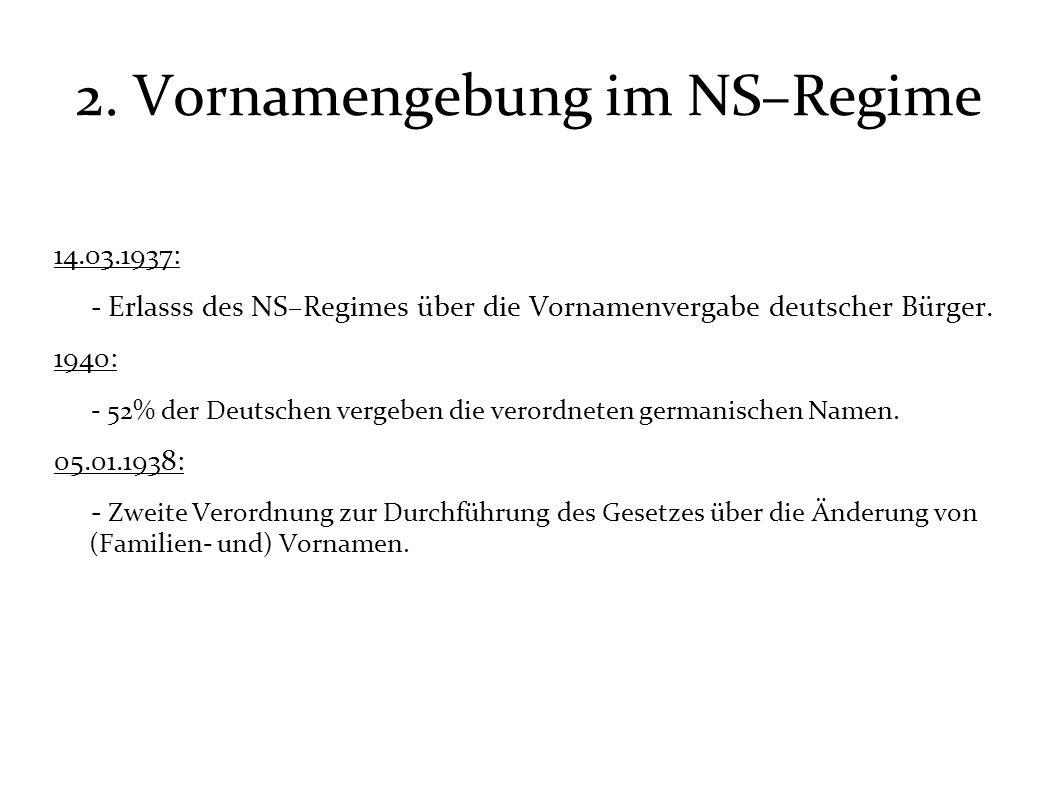 2. Vornamengebung im NS–Regime