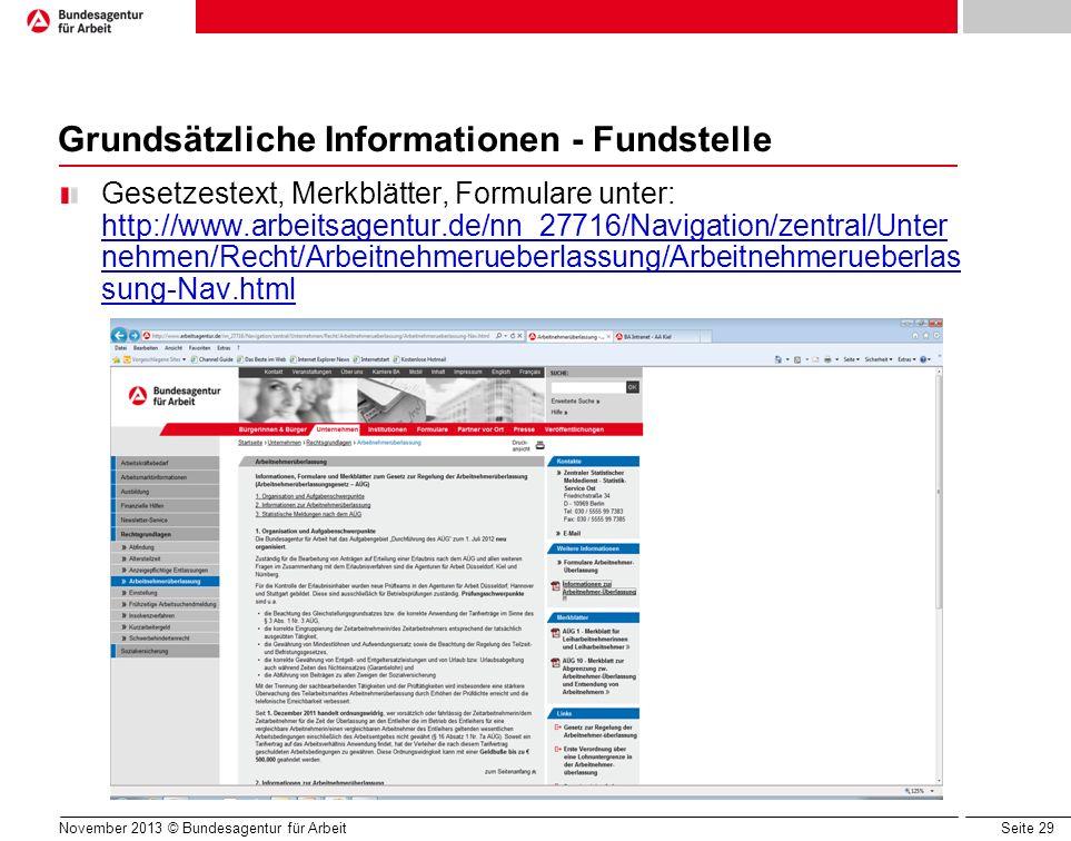 Grundsätzliche Informationen - Fundstelle