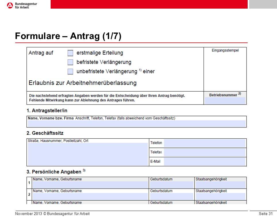Formulare – Antrag (1/7) unbefristet: erst nach 3 Jahren!