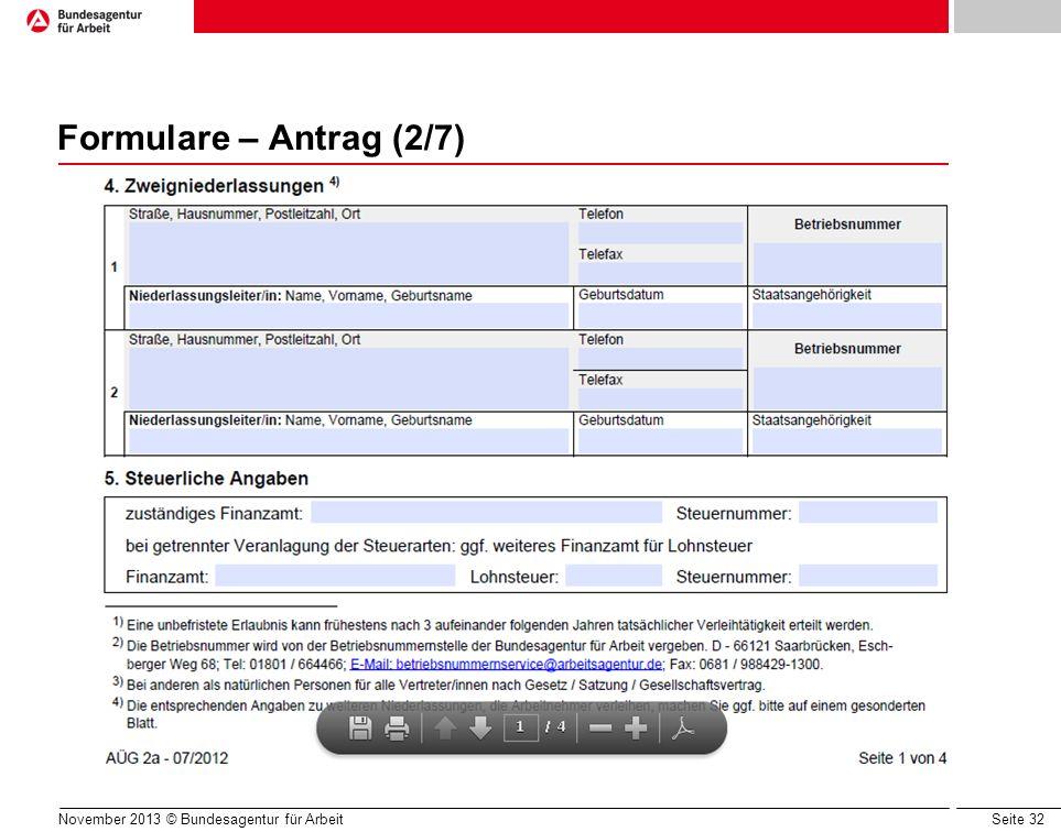 Formulare – Antrag (2/7) Zweigniederlassungen: z.B. ausgelagerte Ämter mit Verleih, Geschäftsstellen.