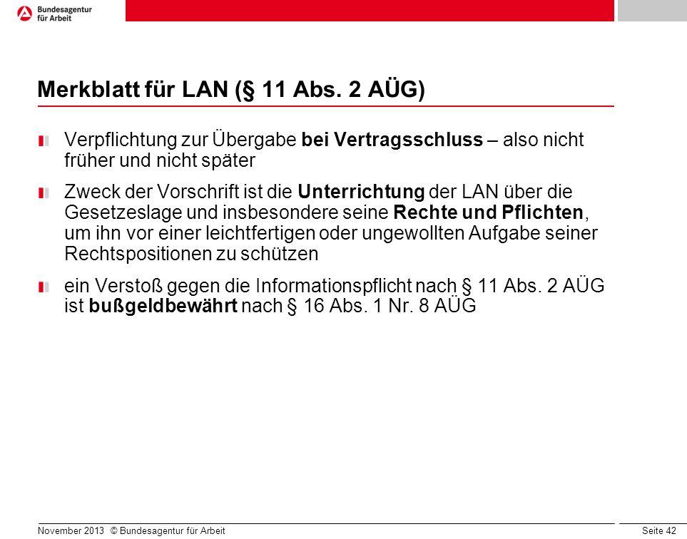 Merkblatt für LAN (§ 11 Abs. 2 AÜG)