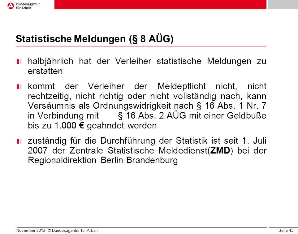 Statistische Meldungen (§ 8 AÜG)