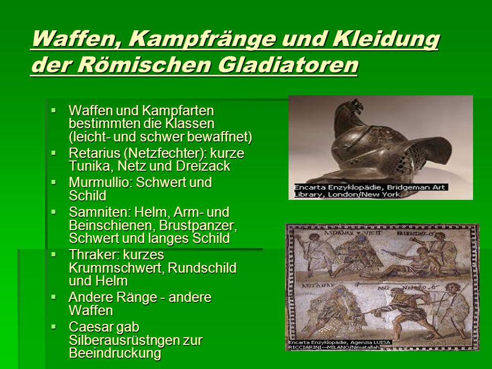 Waffen, Kampfränge und Kleidung der Römischen Gladiatoren