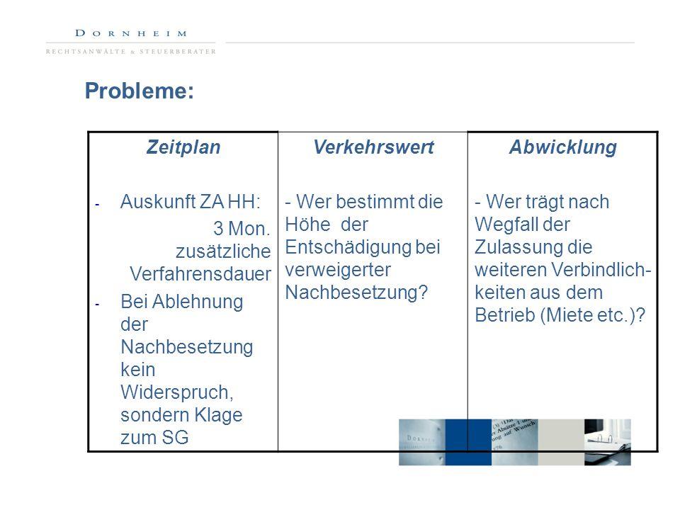 Probleme: Zeitplan Auskunft ZA HH: 3 Mon. zusätzliche Verfahrensdauer