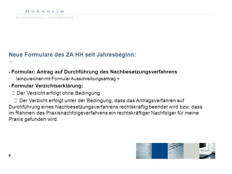  Neue Formulare des ZA HH seit Jahresbeginn: