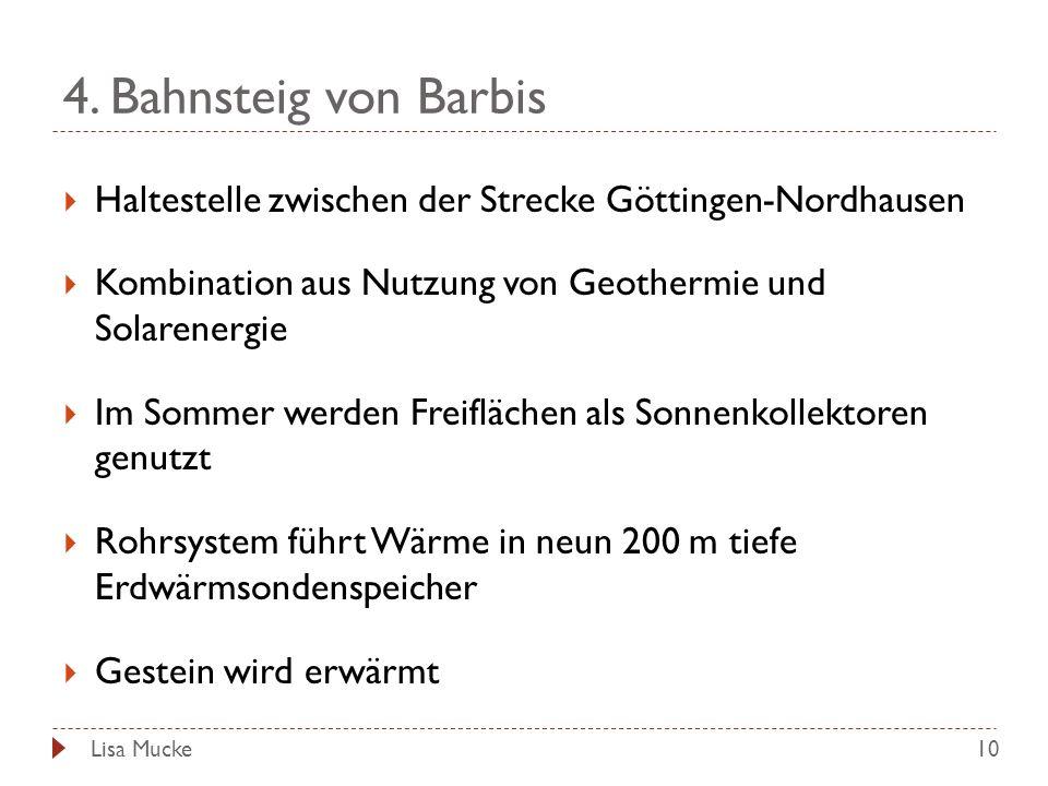 4. Bahnsteig von Barbis Haltestelle zwischen der Strecke Göttingen-Nordhausen. Kombination aus Nutzung von Geothermie und Solarenergie.
