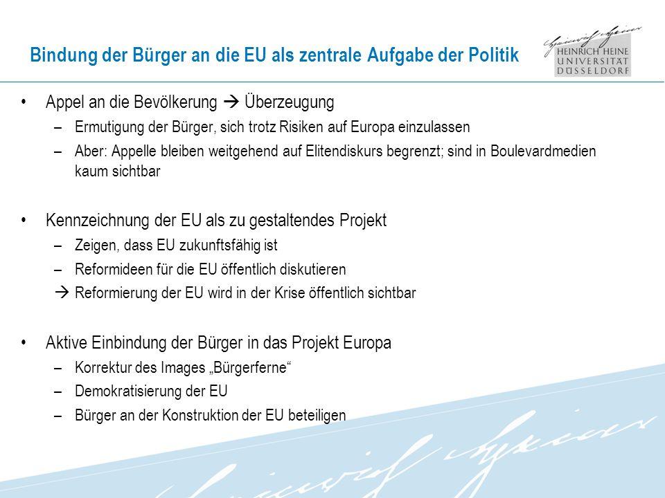 Bindung der Bürger an die EU als zentrale Aufgabe der Politik