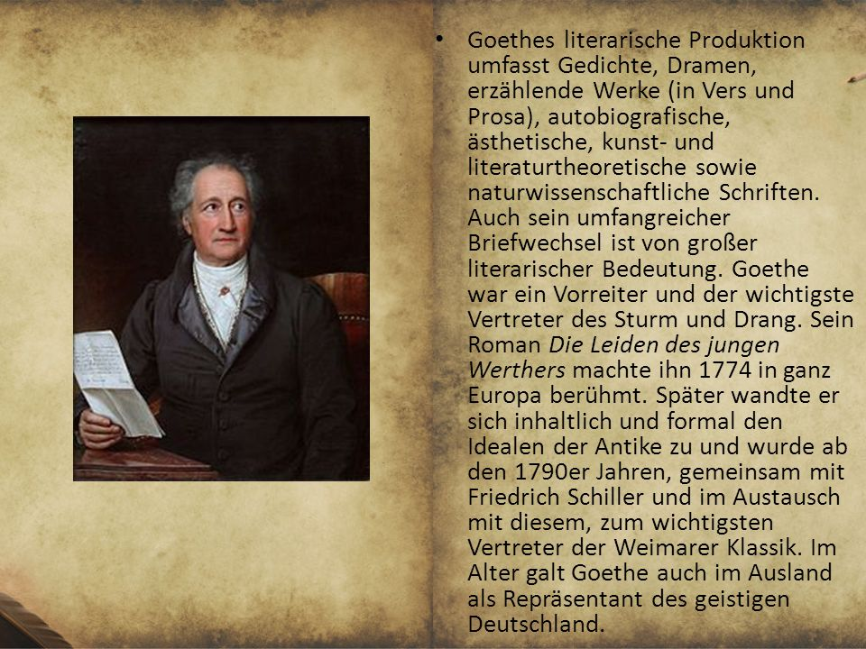weimar klassik johann wolfgang von goethe friedrich schiller ppt video online herunterladen. Black Bedroom Furniture Sets. Home Design Ideas