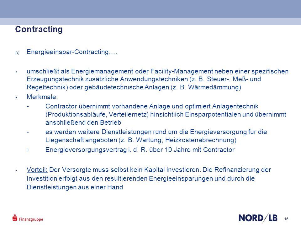Contracting Energieeinspar-Contracting….