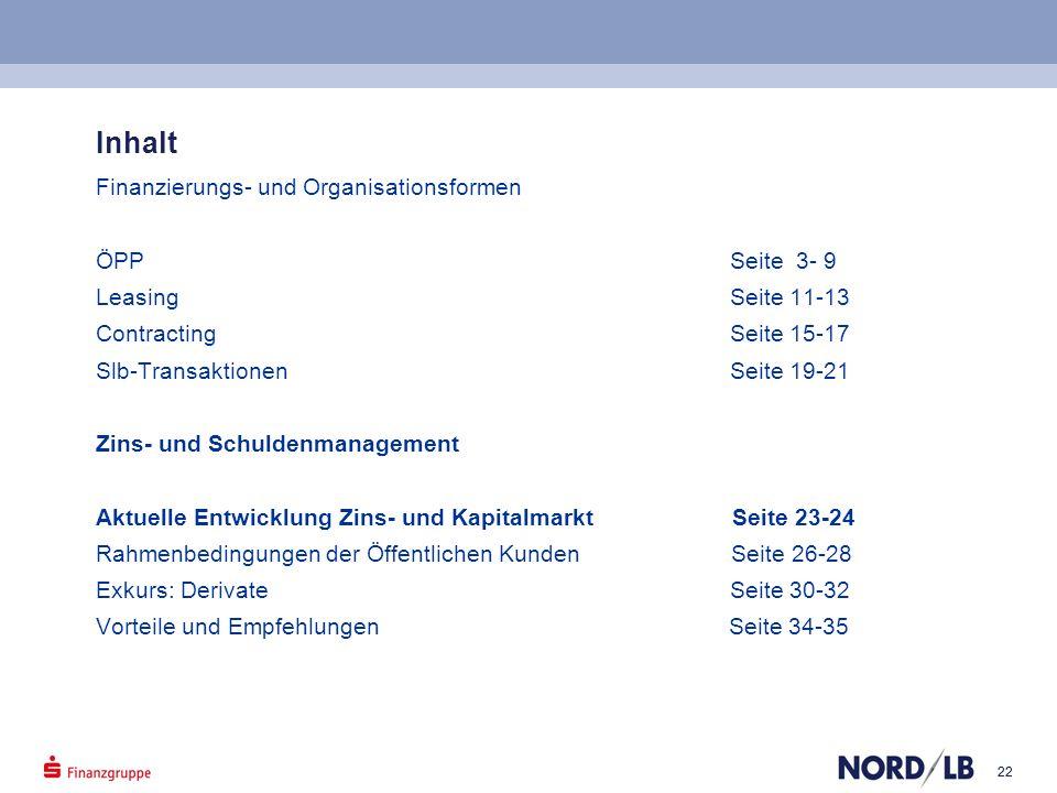Inhalt Finanzierungs- und Organisationsformen ÖPP Seite 3- 9