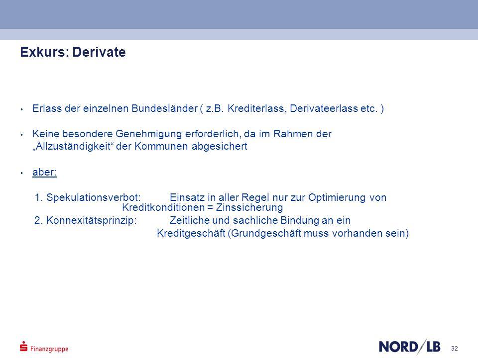 Exkurs: Derivate Erlass der einzelnen Bundesländer ( z.B. Krediterlass, Derivateerlass etc. )