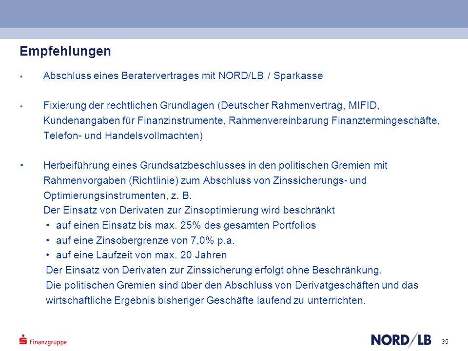 Empfehlungen Abschluss eines Beratervertrages mit NORD/LB / Sparkasse