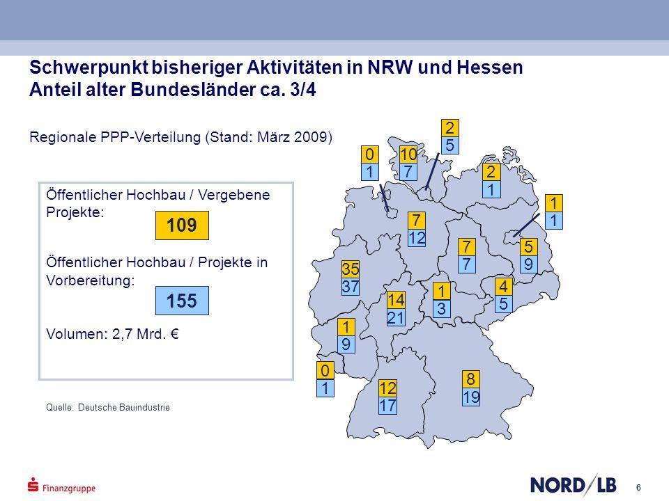 Schwerpunkt bisheriger Aktivitäten in NRW und Hessen Anteil alter Bundesländer ca. 3/4