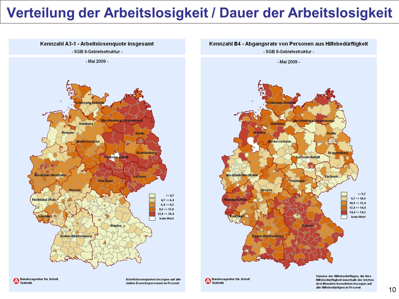 Verteilung der Arbeitslosigkeit / Dauer der Arbeitslosigkeit
