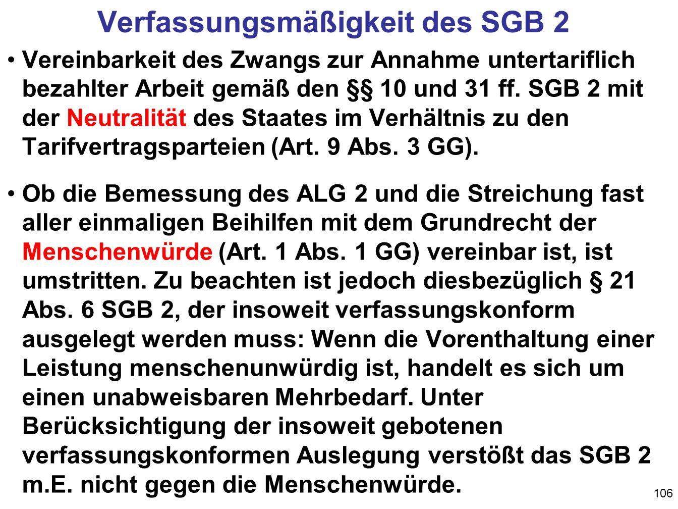 Verfassungsmäßigkeit des SGB 2