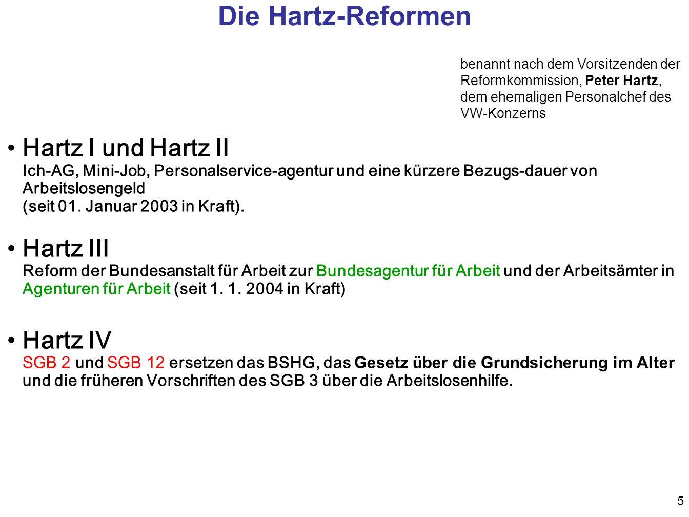 Die Hartz-Reformen benannt nach dem Vorsitzenden der Reformkommission, Peter Hartz, dem ehemaligen Personalchef des VW-Konzerns.