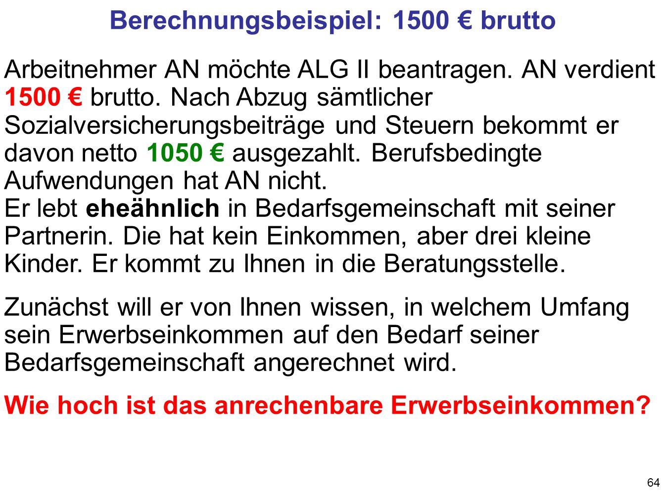 Berechnungsbeispiel: 1500 € brutto