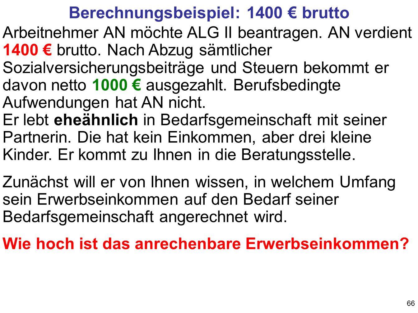 Berechnungsbeispiel: 1400 € brutto