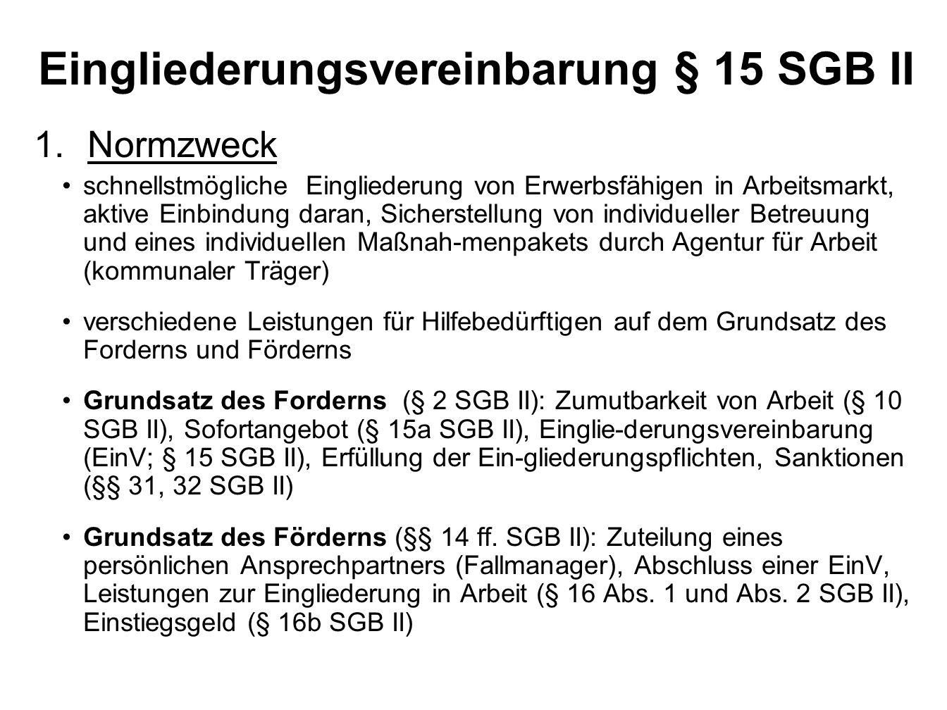 Eingliederungsvereinbarung § 15 SGB II