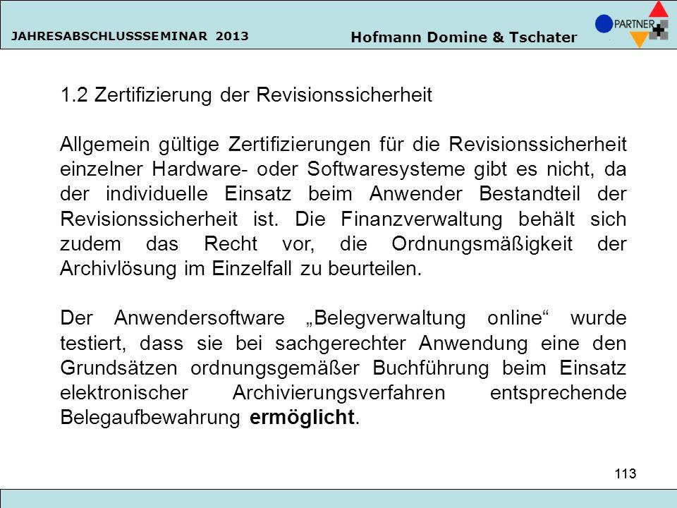 1.2 Zertifizierung der Revisionssicherheit