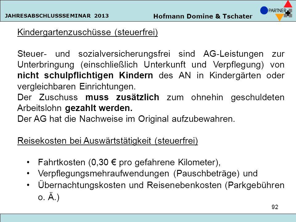 Kindergartenzuschüsse (steuerfrei)