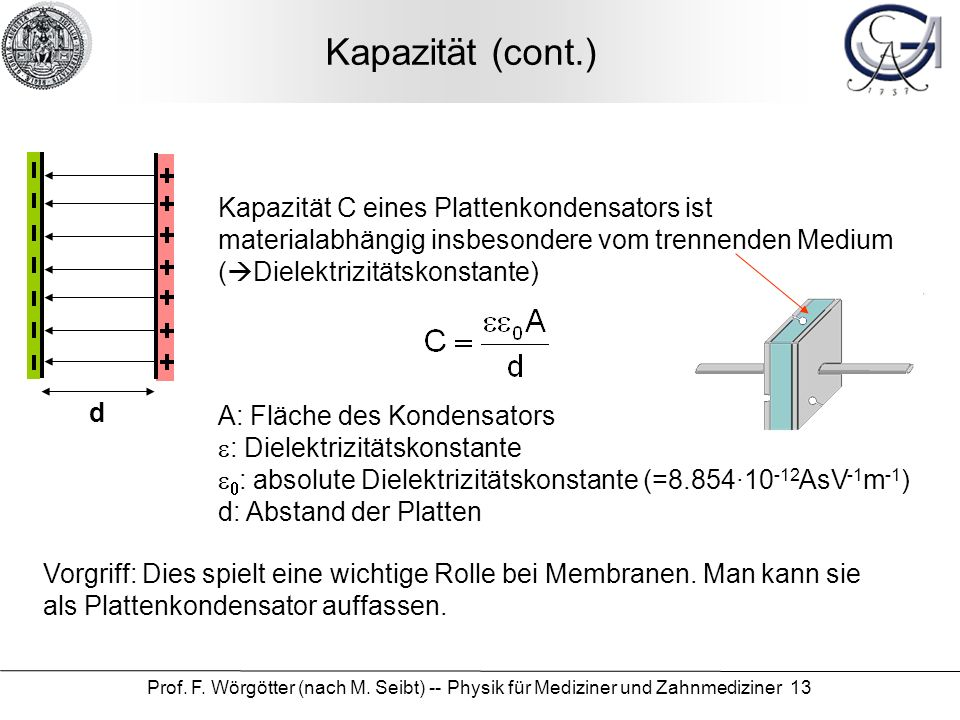 Kapazität (cont.) Kapazität C eines Plattenkondensators ist materialabhängig insbesondere vom trennenden Medium (Dielektrizitätskonstante)
