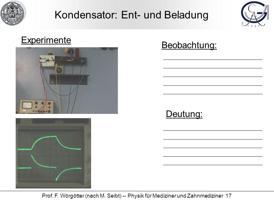 Kondensator: Ent- und Beladung