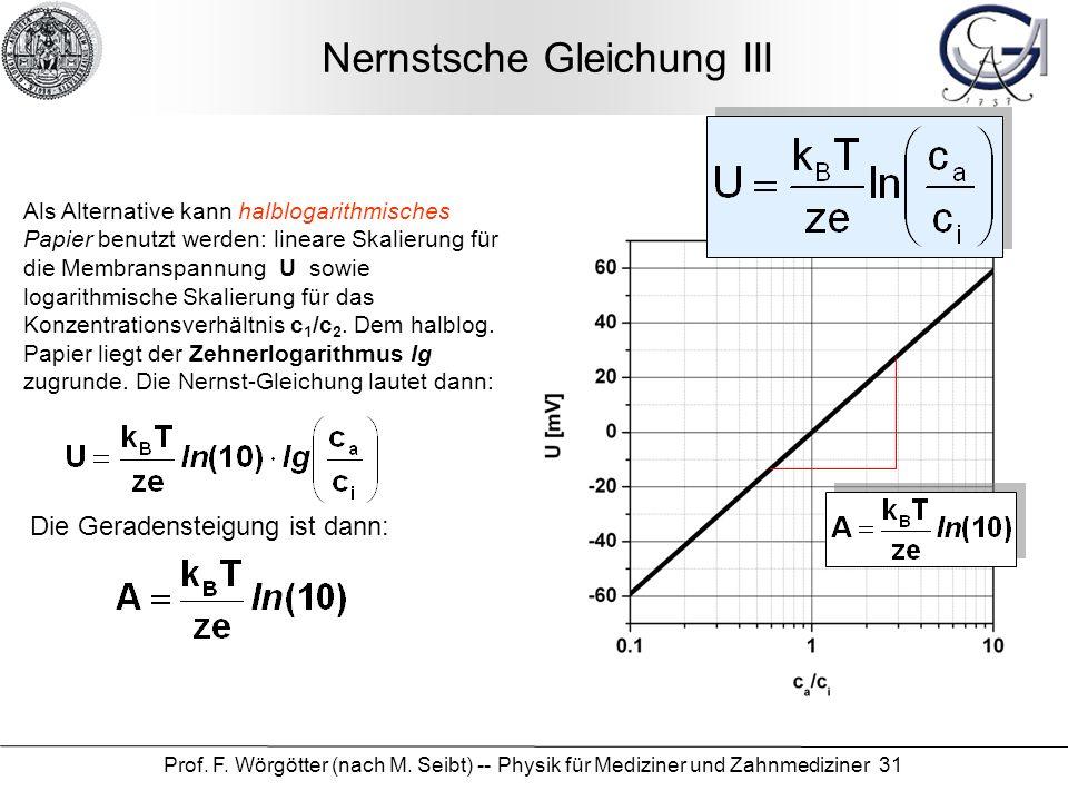 Nernstsche Gleichung III