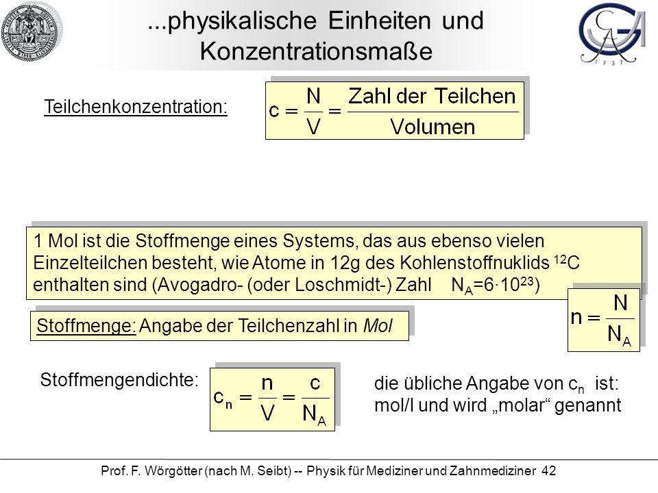 ...physikalische Einheiten und Konzentrationsmaße