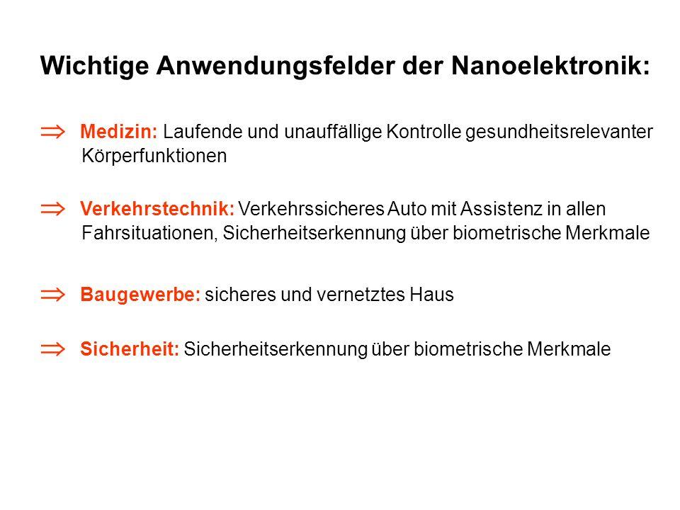 Wichtige Anwendungsfelder der Nanoelektronik: