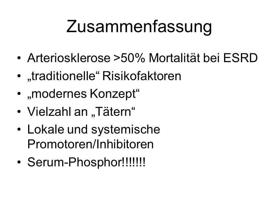 Zusammenfassung Arteriosklerose >50% Mortalität bei ESRD
