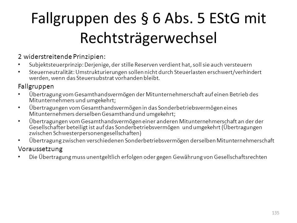 Fallgruppen des § 6 Abs. 5 EStG mit Rechtsträgerwechsel