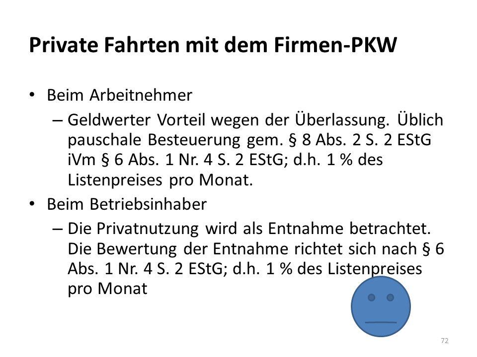 Private Fahrten mit dem Firmen-PKW