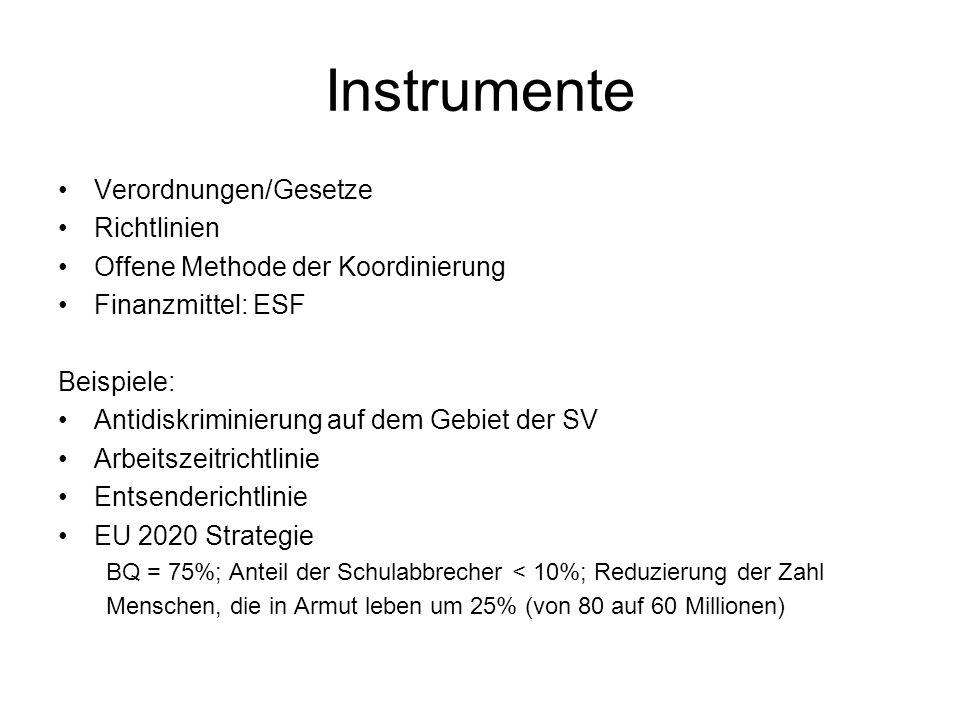 Instrumente Verordnungen/Gesetze Richtlinien