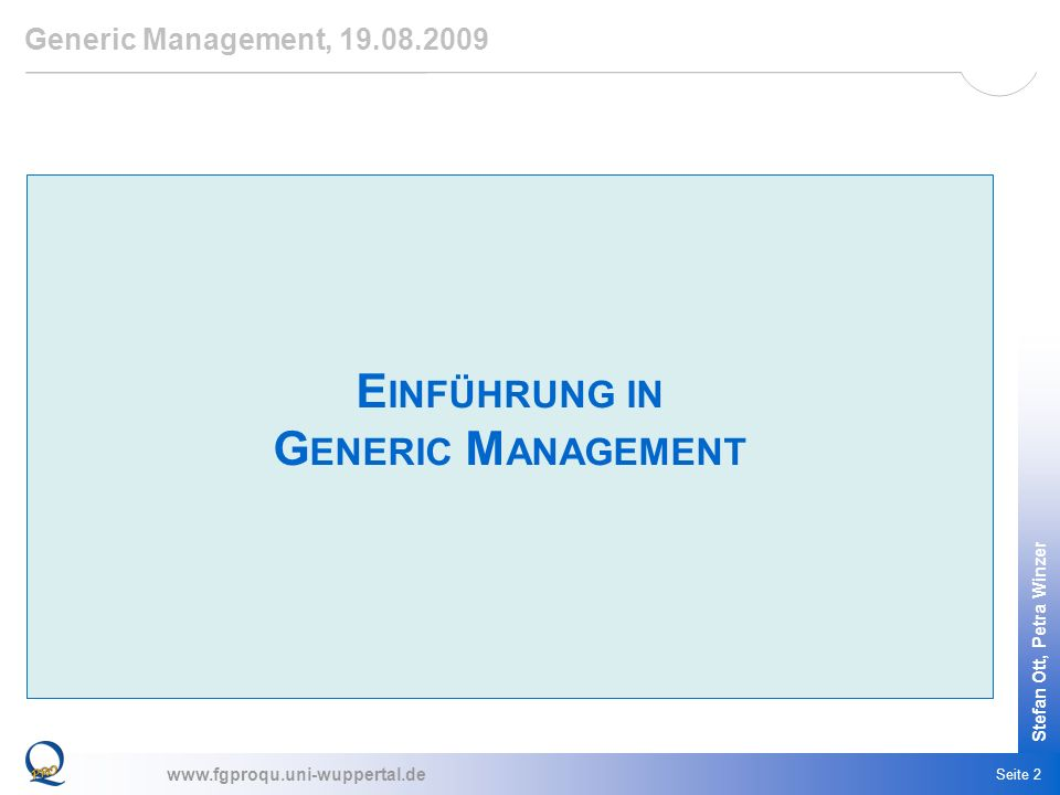 Einführung in Generic Management