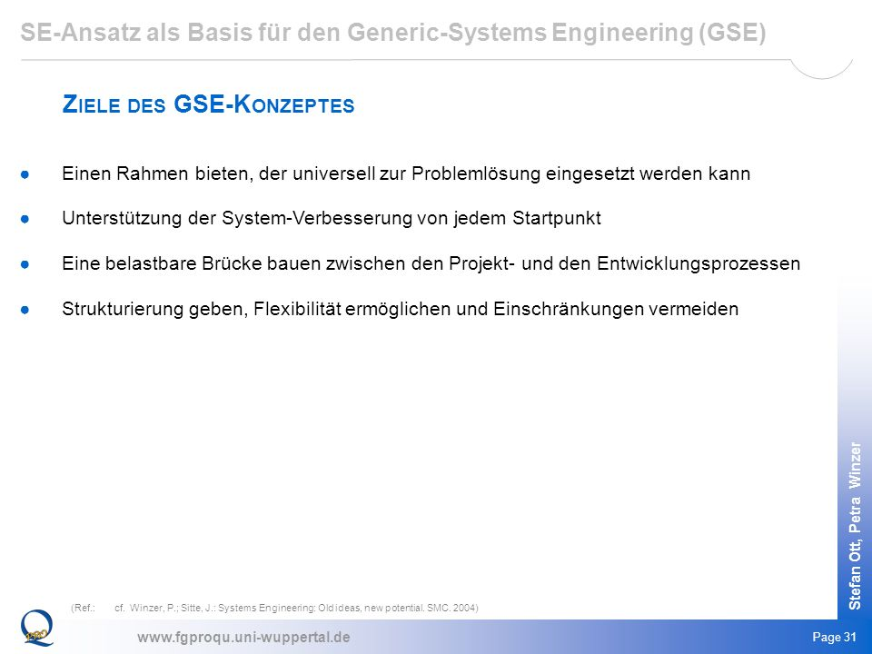 SE-Ansatz als Basis für den Generic-Systems Engineering (GSE)