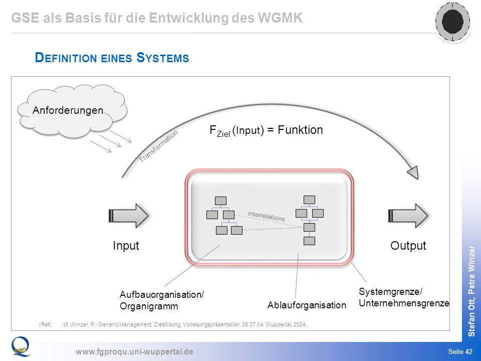 GSE als Basis für die Entwicklung des WGMK